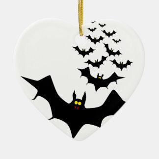 Vampire Bats Ceramic Heart Decoration