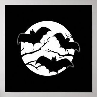 Vampire Bats Trees Silhouette Full Moon Halloween Posters
