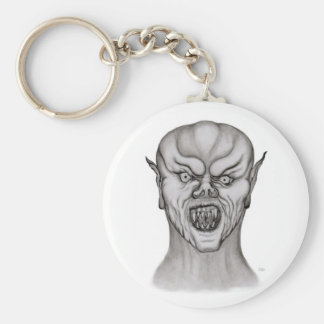 Vampire black and white Design Basic Round Button Key Ring