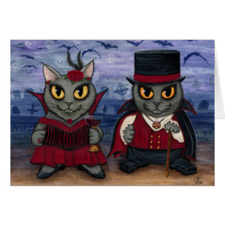 Vampire Cat Couple Gothic Cemetery Fantasy Art Car Card
