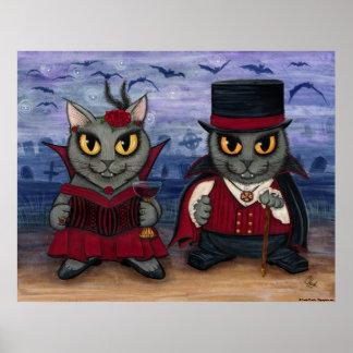 Vampire Cat Couple Gothic Cemetery Fantasy Art Pri Poster