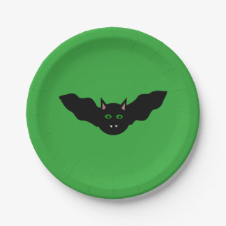 Vampire Cat Faced Bat Halloween Paper Party Plates 7 Inch Paper Plate