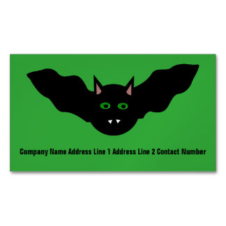 Vampire Cat Faced Bat Halloween Personalized Magnetic Business Cards