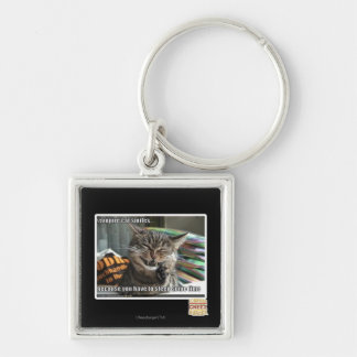 vampire cat smiles Silver-Colored square key ring