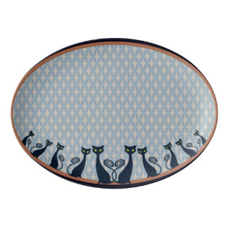 Vampire Cat With Green Eyes Duo Porcelain Serving Platter