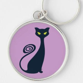 Vampire Cat With Green Eyes Key Ring