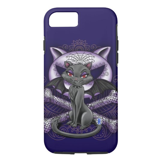 Vampire cat with wings, sugar skull iPhone case