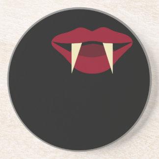 Vampire Fangs Blood Red Lips Drink Coaster