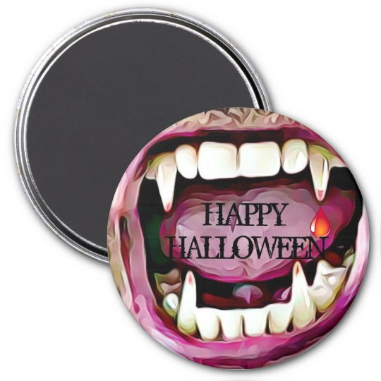 Vampire Fangs with Blood Drop Halloween Button 7.5 Cm Round Magnet