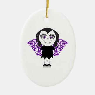 Vampire Girl Tribal Wings Ceramic Oval Decoration