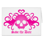 Vampire goth skull in pink, Save the Date