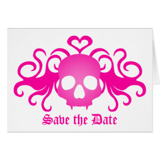 Vampire goth skull in pink, Save the Date Note Card
