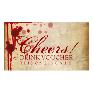 Vampire Halloween Drink Voucher Fake Blood Red Business Cards