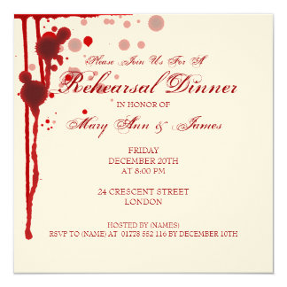 Vampire Halloween Rehearsal Dinner Fake Blood Red Card