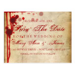 Vampire Halloween Save The Date Fake Blood Red Post Card