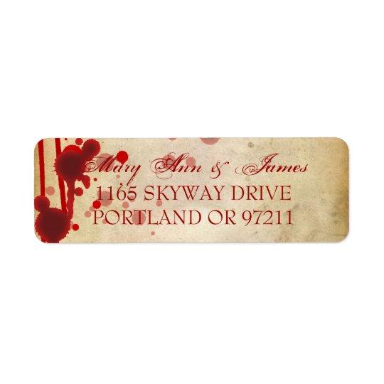 Vampire Halloween Wedding Address Fake Blood Red Return Address Label