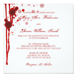 Vampire Halloween Wedding Fake Blood Red 13 Cm X 13 Cm Square Invitation Card