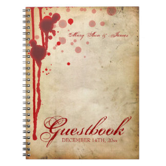 Vampire Halloween Wedding Guestbook Fake Blood Red Notebook