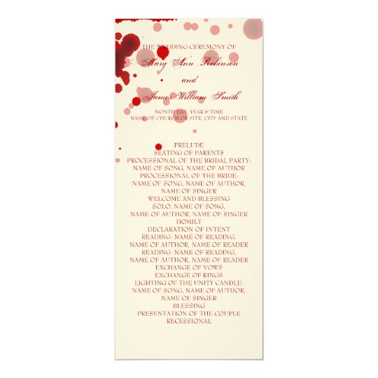 Vampire Halloween Wedding Program Fake Blood Red