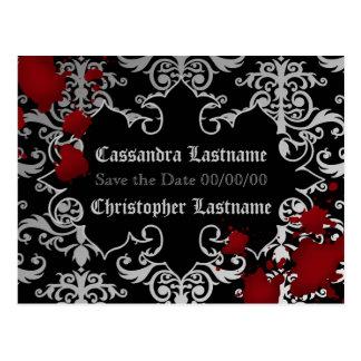 Vampire Halloween wedding | Save the date Postcard