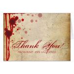 """Vampire Halloween Wedding """"Thank you"""" Fake Blood Greeting Card"""