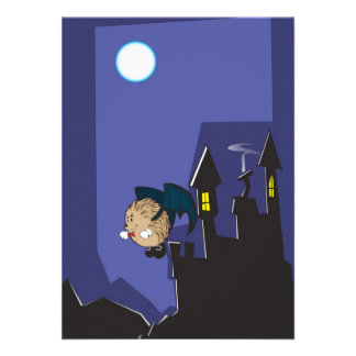 Vampire hedgehog flying into Halloween night Personalized Invitation