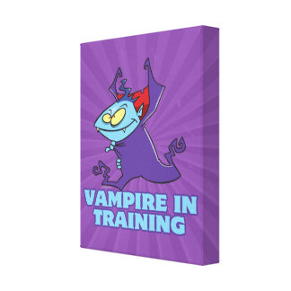 vampire in training funny cartoon stretched canvas print