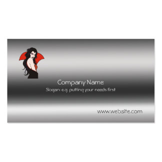 Vampire Lady on metallic-look template Pack Of Standard Business Cards
