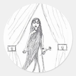 Vampire Lady Round Sticker