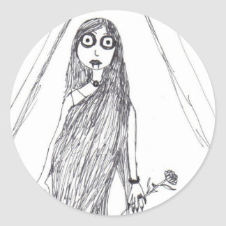 Vampire Lady Round Sticker
