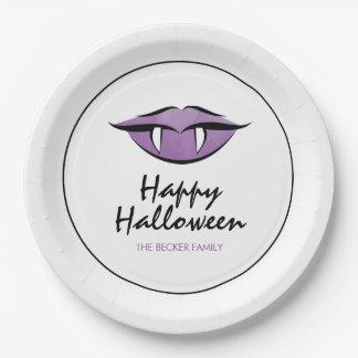 Vampire Lips Goth Happy Halloween Paper Plates