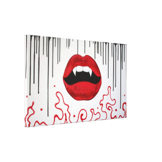 Vampire Lips Wrapped Canvas Canvas Print