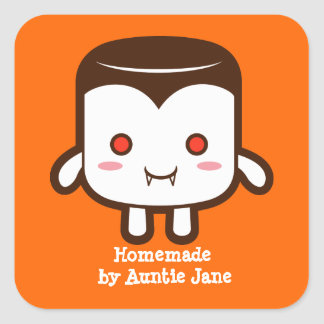 Vampire marshmallow square sticker