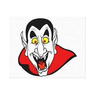Vampire mouth open head cape stretched canvas prints