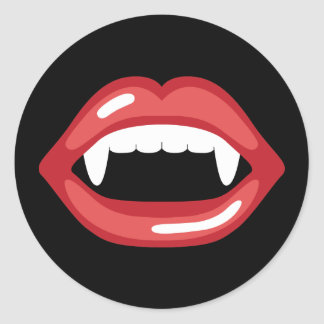 Vampire Mouth With Red Lips And Fangs Classic Round Sticker