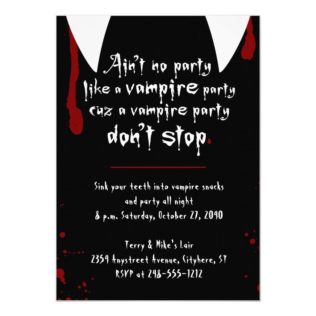 Vampire Party Don't Stop Halloween Party Invitation