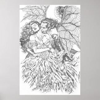 Vampire s Kiss by Al Rio - Vampire and Woman Art Poster