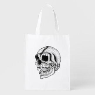 Vampire Skull black and white Design Reusable Grocery Bag
