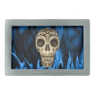 Vampire Skull In Blue Flames Belt Buckle