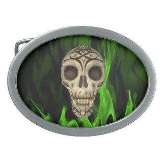 Vampire Skull In Green Flames Belt Buckle
