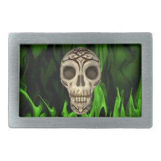 Vampire Skull In Green Flames Belt Buckles