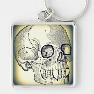 VAMPIRE SKULL PRINT (DARK EDGE) Silver-Colored SQUARE KEY RING