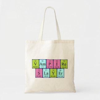 Vampire Slayer periodic table phrase tote bag