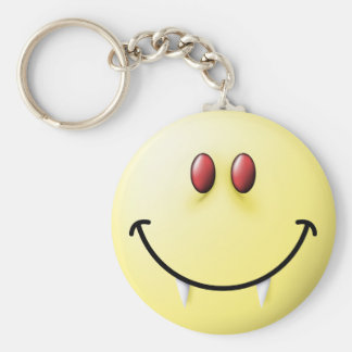 Vampire Smiley Face Basic Round Button Key Ring