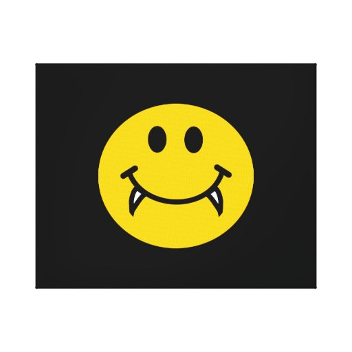 Vampire smiley face with fangs canvas print