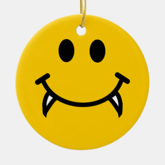 Vampire smiley face with fangs christmas ornament