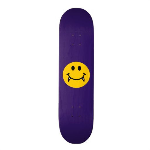 Vampire smiley face with fangs skate decks