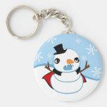 Vampire Snowman Basic Round Button Key Ring