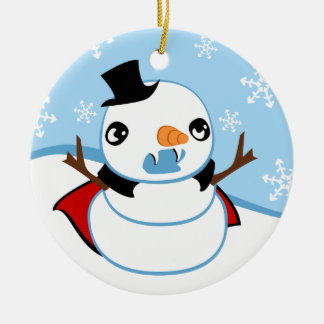 Vampire Snowman Christmas Ornament