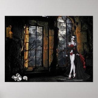 Vampire Standing in the Window Light Poster Print